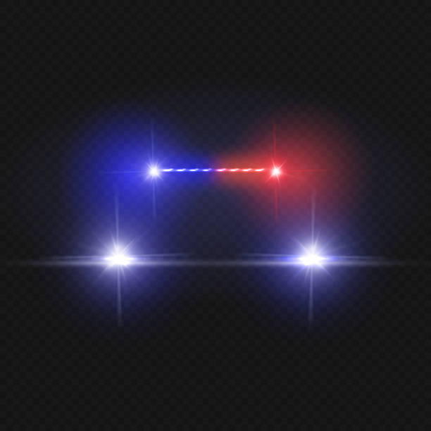 police car headlights and blinking red siren lights isolated on transparent background - police officer stock illustrations, clip art, cartoons, & icons