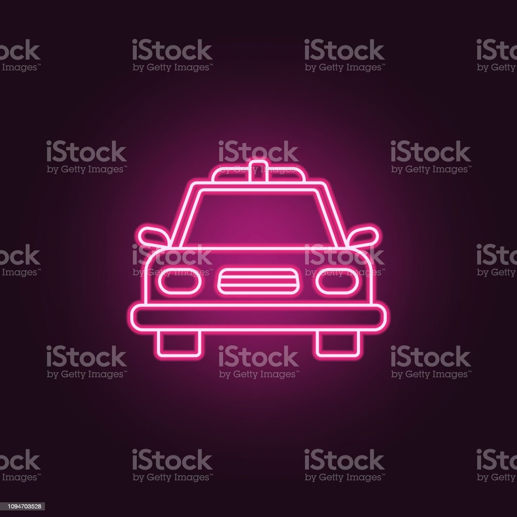 Police Car Icon Elements Of Crime Investigation In Neon Style Icons