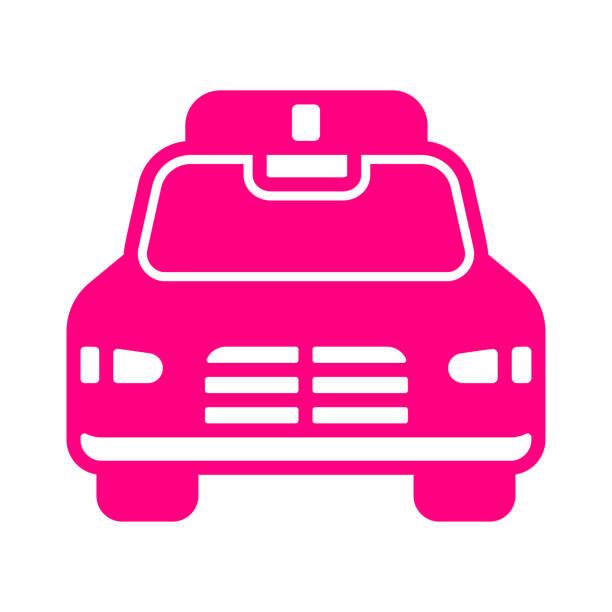 illustrations, cliparts, dessins animés et icônes de icône de voiture de police / couleur rose - commissariat