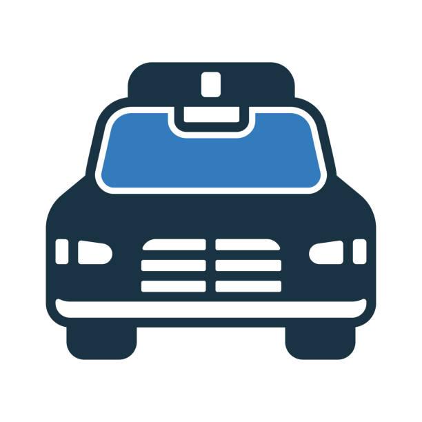 illustrations, cliparts, dessins animés et icônes de icône de voiture de police / graphiques vectoriels - commissariat