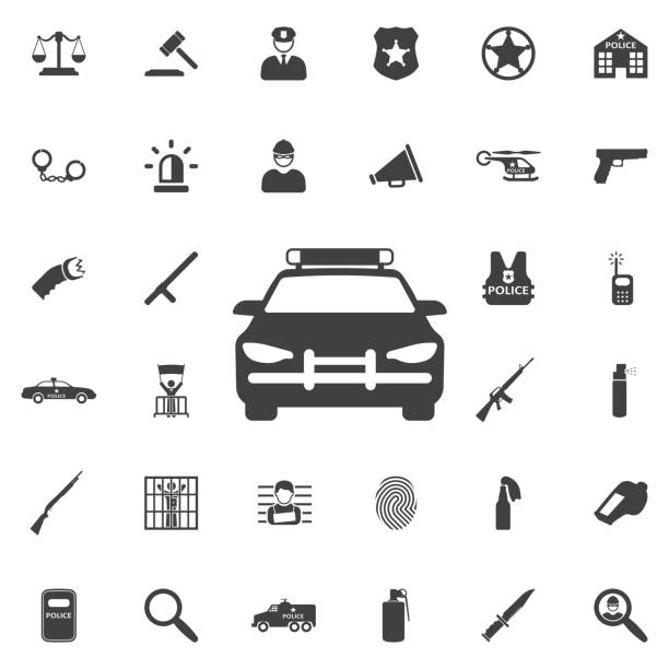 Police Car icon Police Car icon on the white background police car stock illustrations