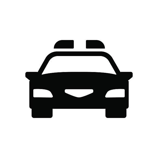 Police car icon. Vector illustration Police car icon. Silhouette flat design vector illustration police car stock illustrations