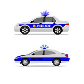 Police patrol cars. Side view. Security, defence and 911 service concept. Beautiful vector illustraion in flat style isolated on a white background