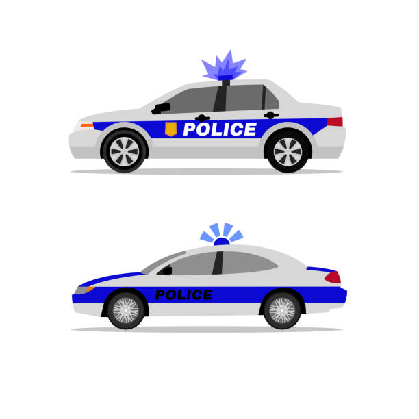Police Car Image Police patrol cars. Side view. Security, defence and 911 service concept. Beautiful vector illustraion in flat style isolated on a white background police car stock illustrations