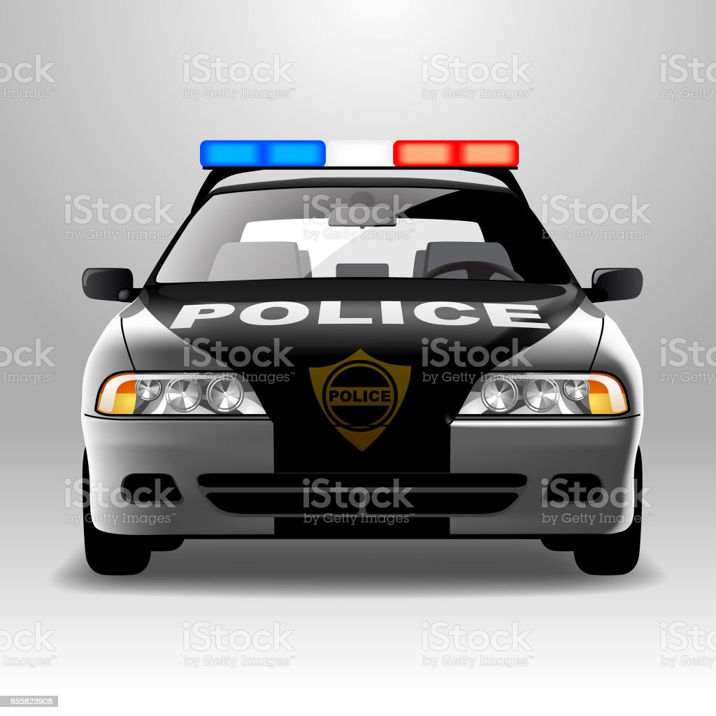 Police car in frontal view vector art illustration