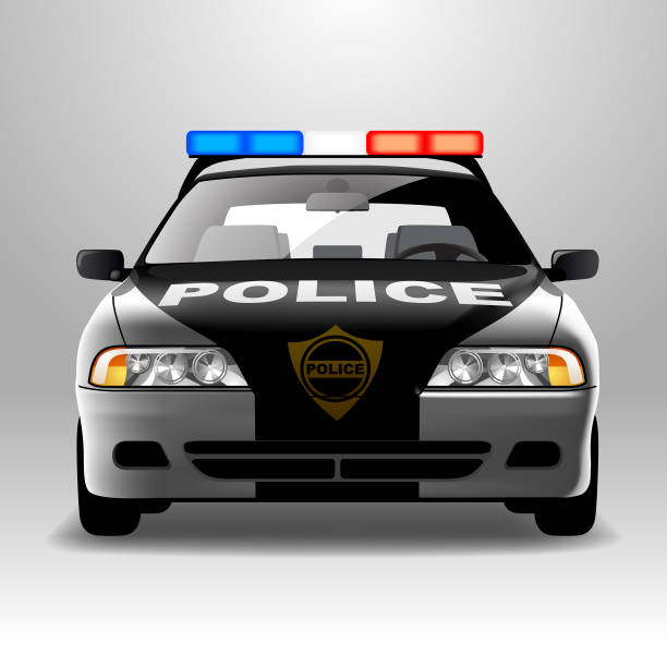 Police car in frontal view Police car in frontal view. Vector illustration police car stock illustrations