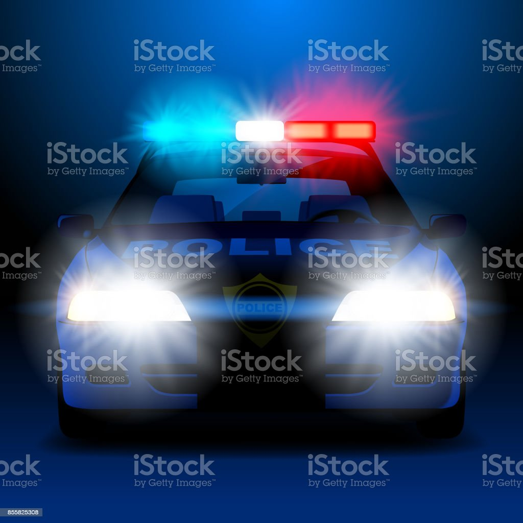 Police car in night with lights in frontal view vector art illustration