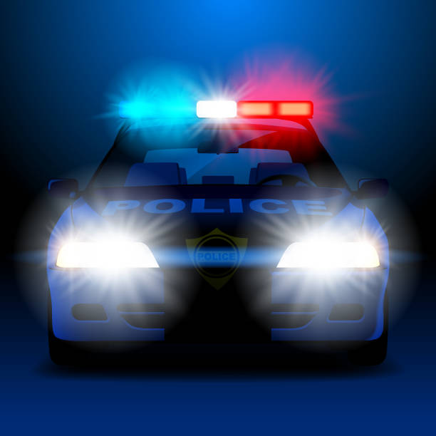 Police car in night with lights in frontal view Police car in night with lights in frontal view. Vector illustration police car stock illustrations