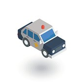 police car isometric flat icon. 3d vector colorful illustration. Pictogram isolated on white background
