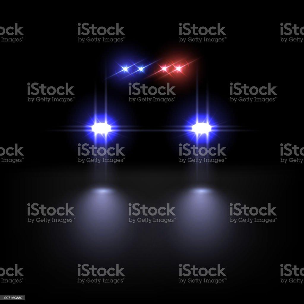 Police car light effect on dark background. Vector illustration. vector art illustration