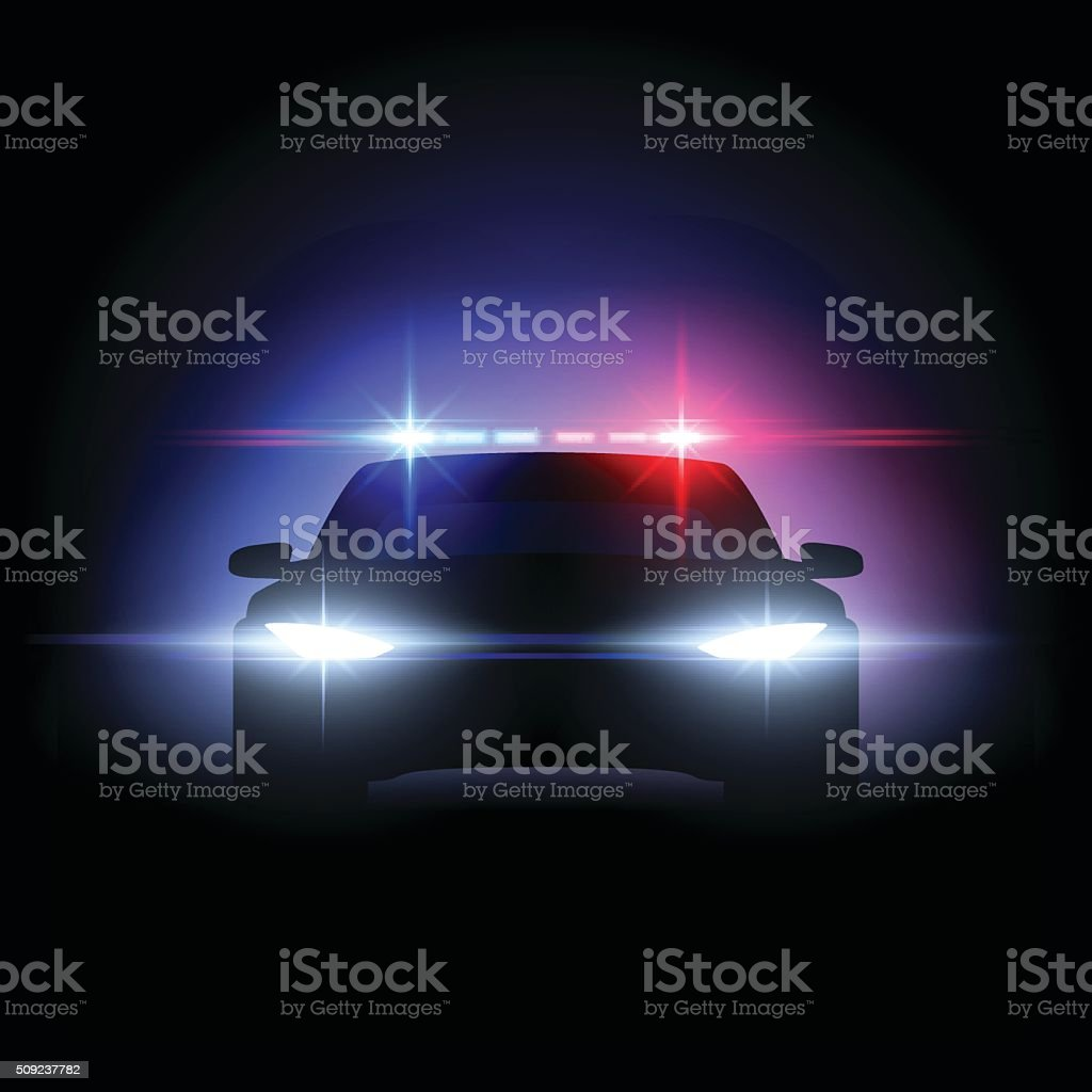 Police car lights effect vector art illustration