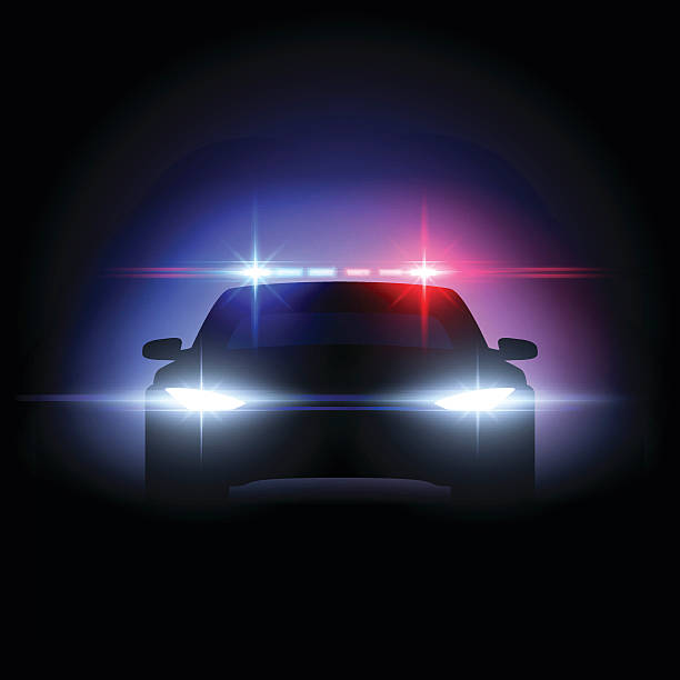Police car lights effect Police car lights effect in vector police car stock illustrations
