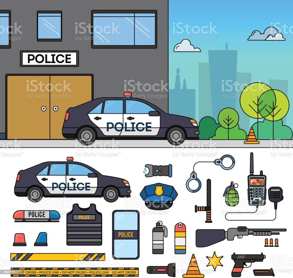 Police car near police department vector art illustration