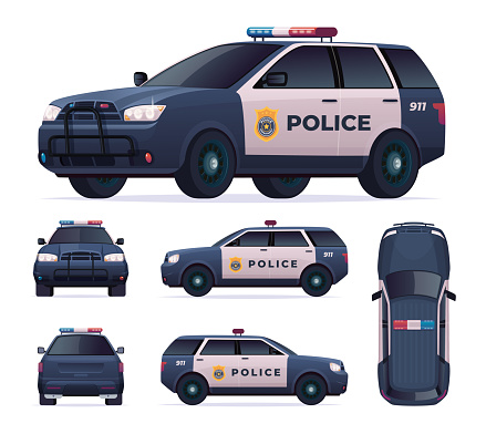 Police car set. Patrol official vehicle, cop automobile chase and pursuit criminals. View front, rear, side, top.