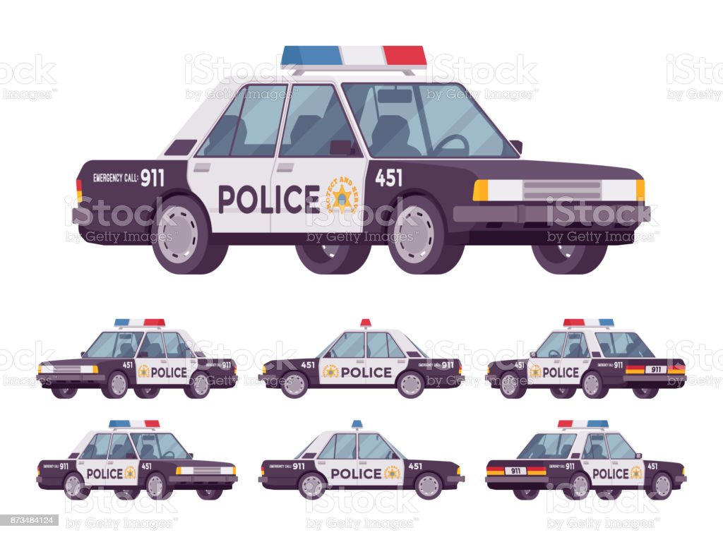 Police car set vector art illustration