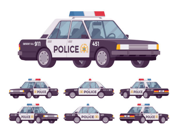 Police car set Police car set. Patrol official vehicle, cop automobile to help protect and serve, chase and pursuit criminals on road, emergency service. Vector flat style cartoon illustration on white background police car stock illustrations