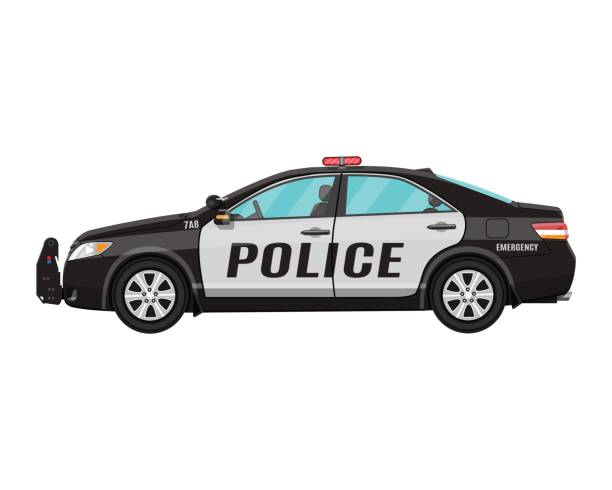 police car side view isolated on white police car side view isolated on white. vector illustration police car stock illustrations