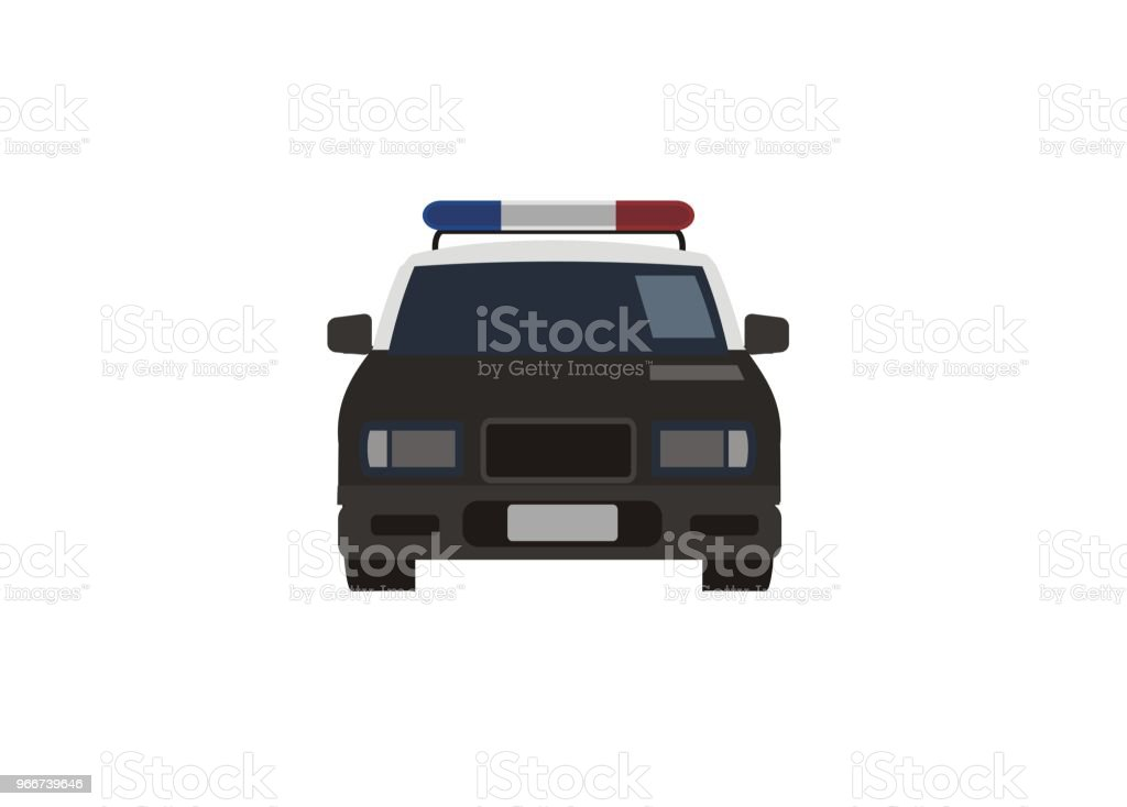 police car simple illustration, front view vector art illustration