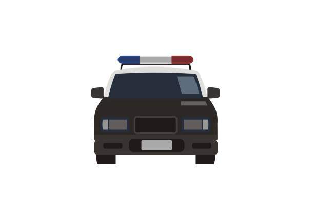 police car simple illustration, front view simple illustration of a police car police car stock illustrations