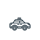 police car vector icon isolated on white background. Outline, thin line police car icon for website design and mobile, app development. Thin line police car outline icon vector illustration