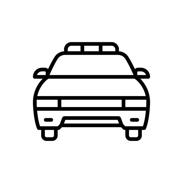 Police car Icon for police car, vehicle, car, cop, patrolling, transportation, light, surveillance, detective police car stock illustrations