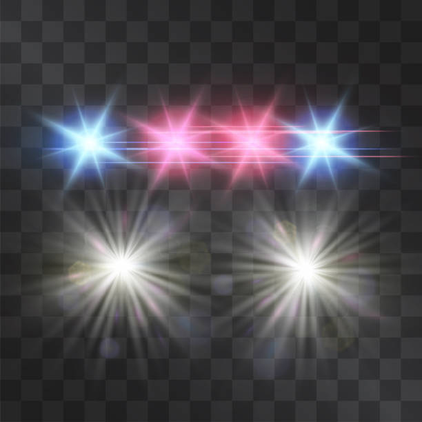 Police car vector lights on transparent background. Red and blue siren flashes, road warning lights, safety, justice and protection symbol, flares in the darkness. Night projectors. Police car vector lights on transparent background. Red and blue siren flashes, road warning lights, safety, justice and protection symbol, flares in the darkness. Night projectors. blinking stock illustrations