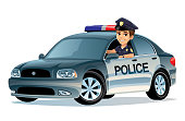 Illustration of a Police car with a cop on white background