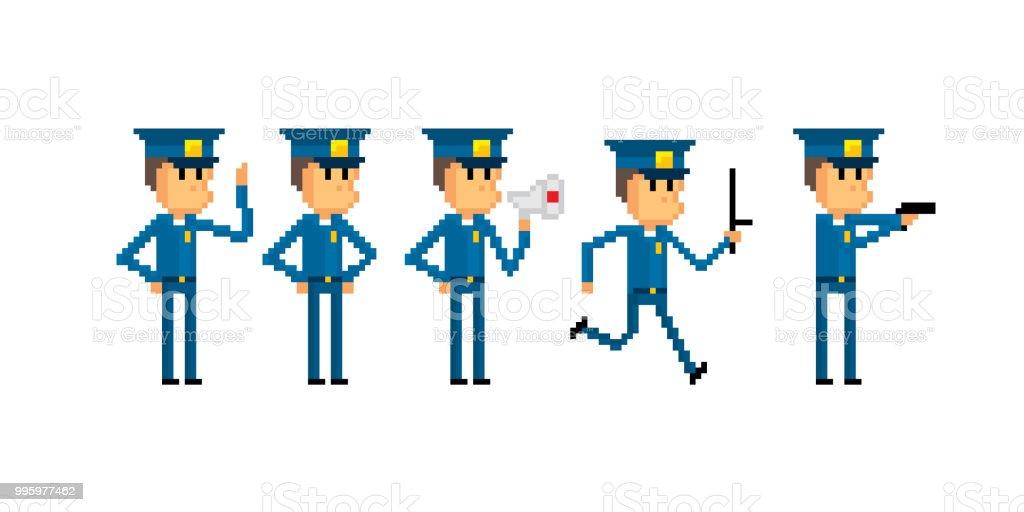 Police Character Set Pixel Art Old School Computer Graphic 8 Bit