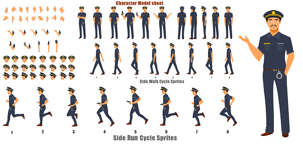 Police Character Turnaround with Walk cycle and Run cycle Animation Sequence