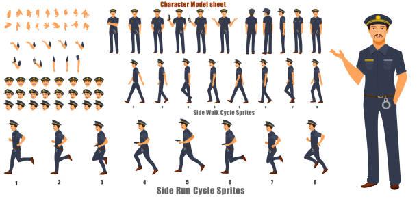 도보 주기와 실행 사이클 애니메이션 시퀀스로 경찰 문자 처리 - 가공의 인물 stock illustrations