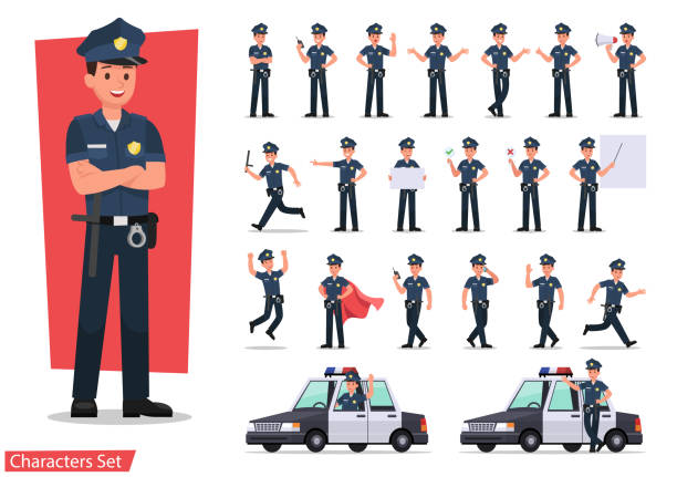 illustrazioni stock, clip art, cartoni animati e icone di tendenza di police character vector design - polizia