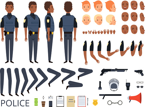 Police characters. Detail creation kit constructor bodyguard man cop poses and uniform professional clothes and tools vector cartoon