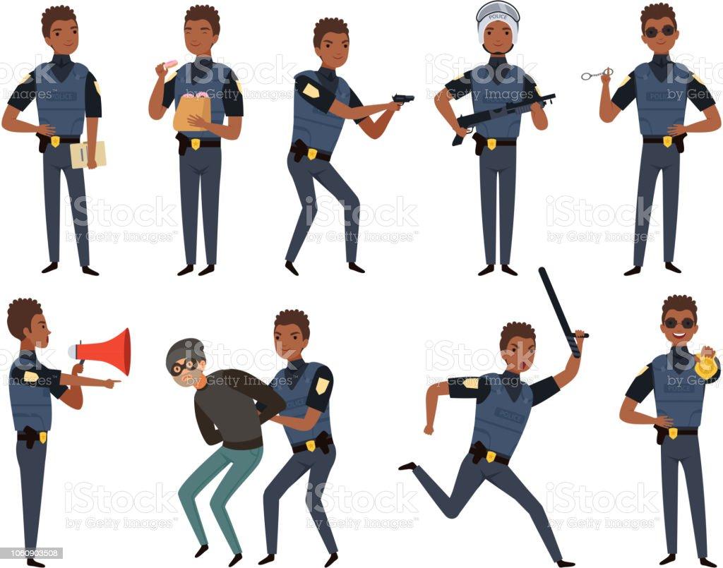 警察の文字パトロール警官セキュリティ機関マスコット キャラクター
