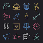 Modern police and community neon style concept outline symbols. Line vector icon sets for infographics and web designs.