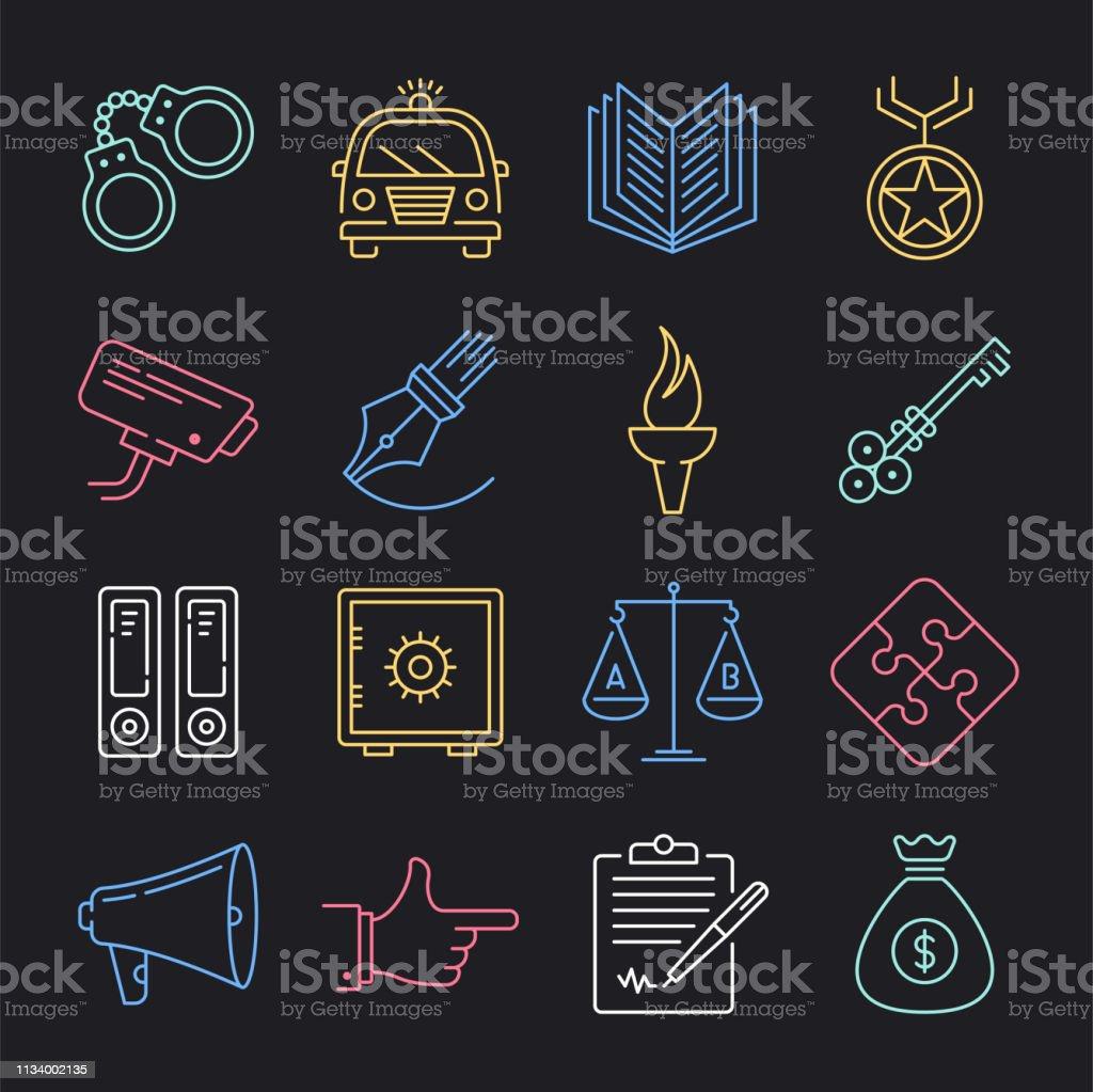 Police & Community Neon Style Vector Icon Set - ilustração de arte vetorial