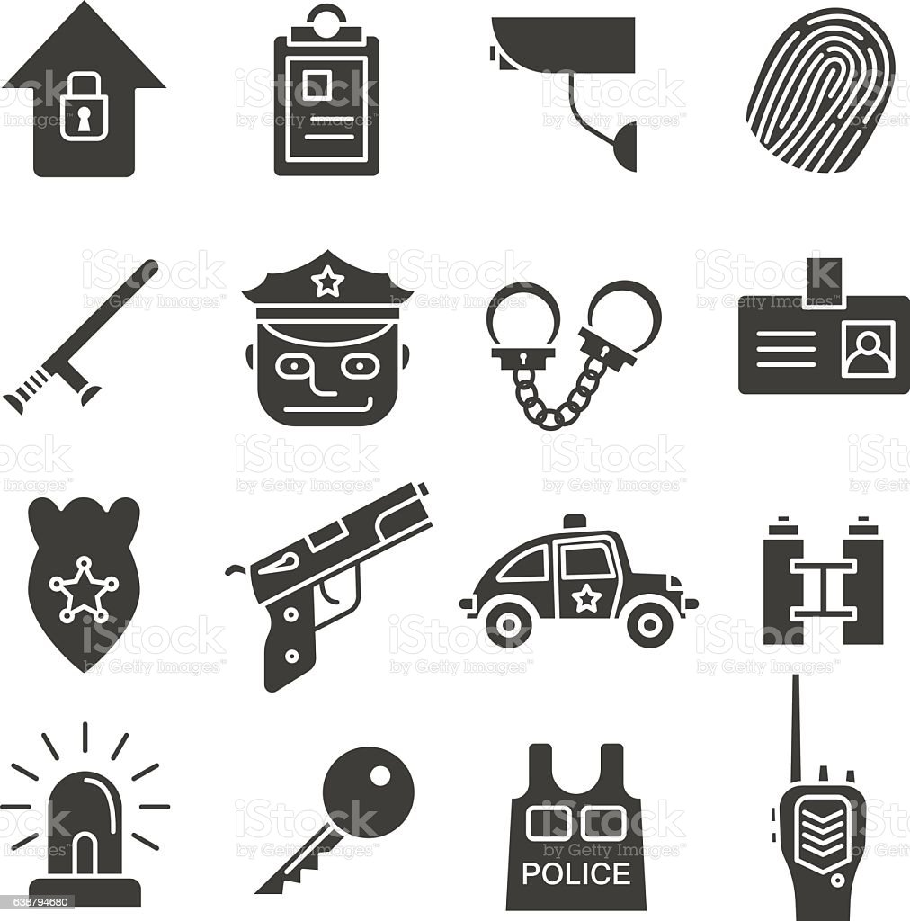 Police Concepts Icons Set Silhouette Symbols Security Agency