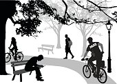 A vector silhouette illustration of a police officer cycling and people enjoying a day at the park.  A young lady rides a bike along a path.  A young man hunches over using his cell phone sitting on a bench, and another young man walks wearing a backpack.  The police officer wears a uniform and rides along the path.