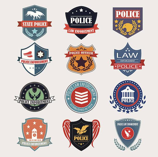 Polizei-label-Abzeichen und design-Elemente.  Vektor-Illus – Vektorgrafik