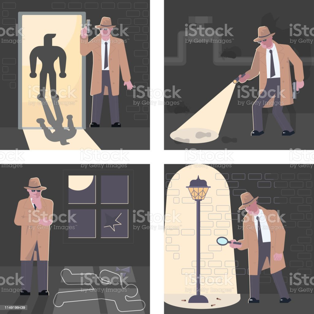 Set of Police Detective And Private Investigator At Work...