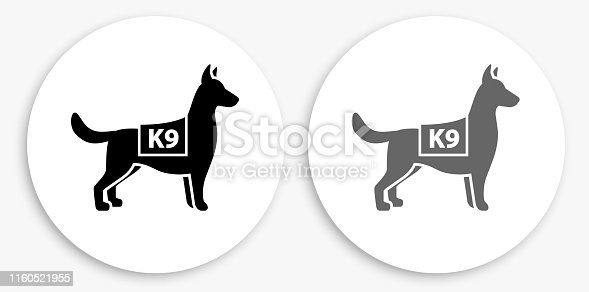 K9 Police Dog Black and White Round Icon. This 100% royalty free vector illustration is featuring a round button with a drop shadow and the main icon is depicted in black and in grey for a roll-over effect.