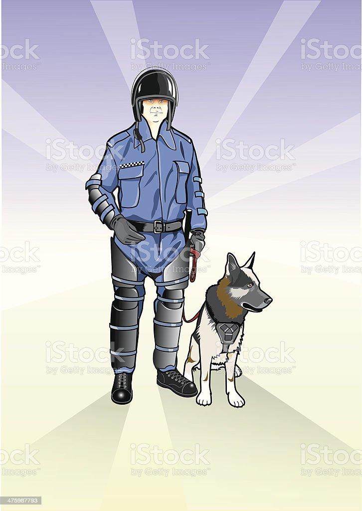 Polizeilicher Hundeführer – Vektorgrafik