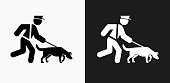 K9 Police Dog Icon on Black and White Vector Backgrounds. This vector illustration includes two variations of the icon one in black on a light background on the left and another version in white on a dark background positioned on the right. The vector icon is simple yet elegant and can be used in a variety of ways including website or mobile application icon. This royalty free image is 100% vector based and all design elements can be scaled to any size.