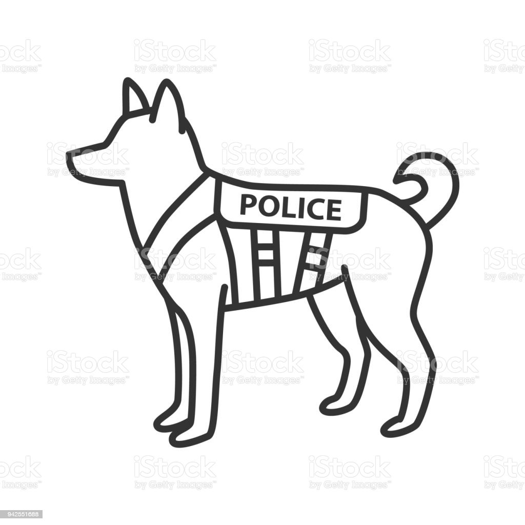K9 police dog icon vector art illustration
