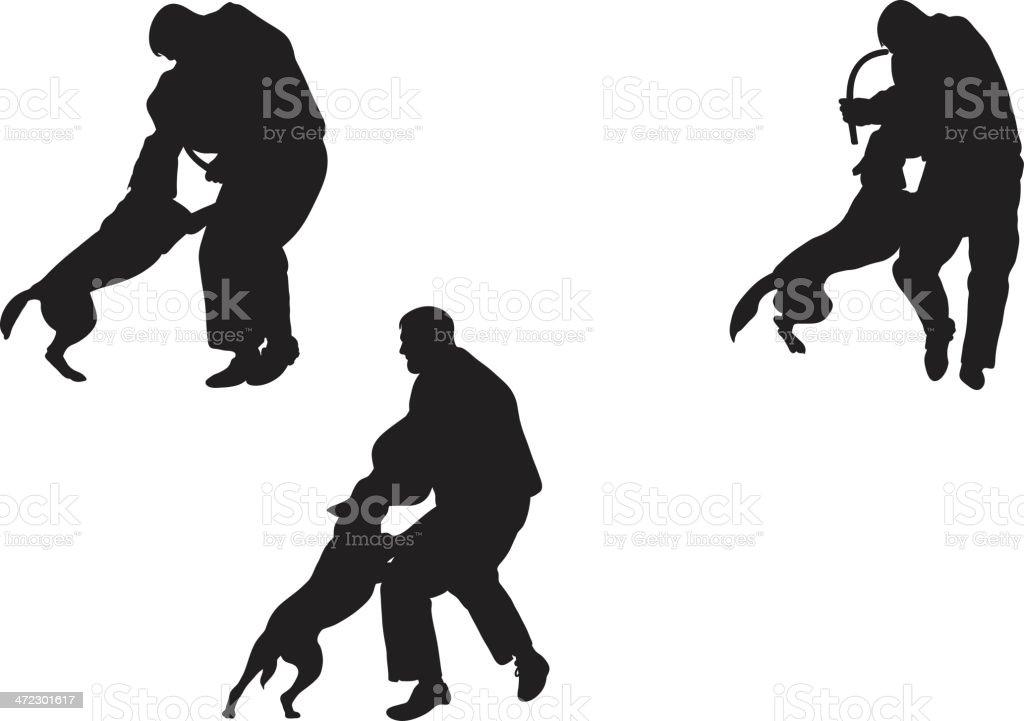 Police dog training vector art illustration