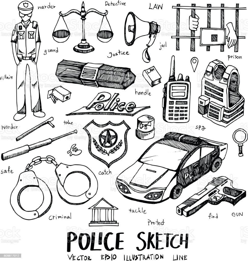 Vetor de ícone de linha de croqui Doodle polícia definir eps10 - ilustração de arte em vetor