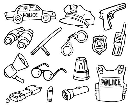 Police Doodles Set