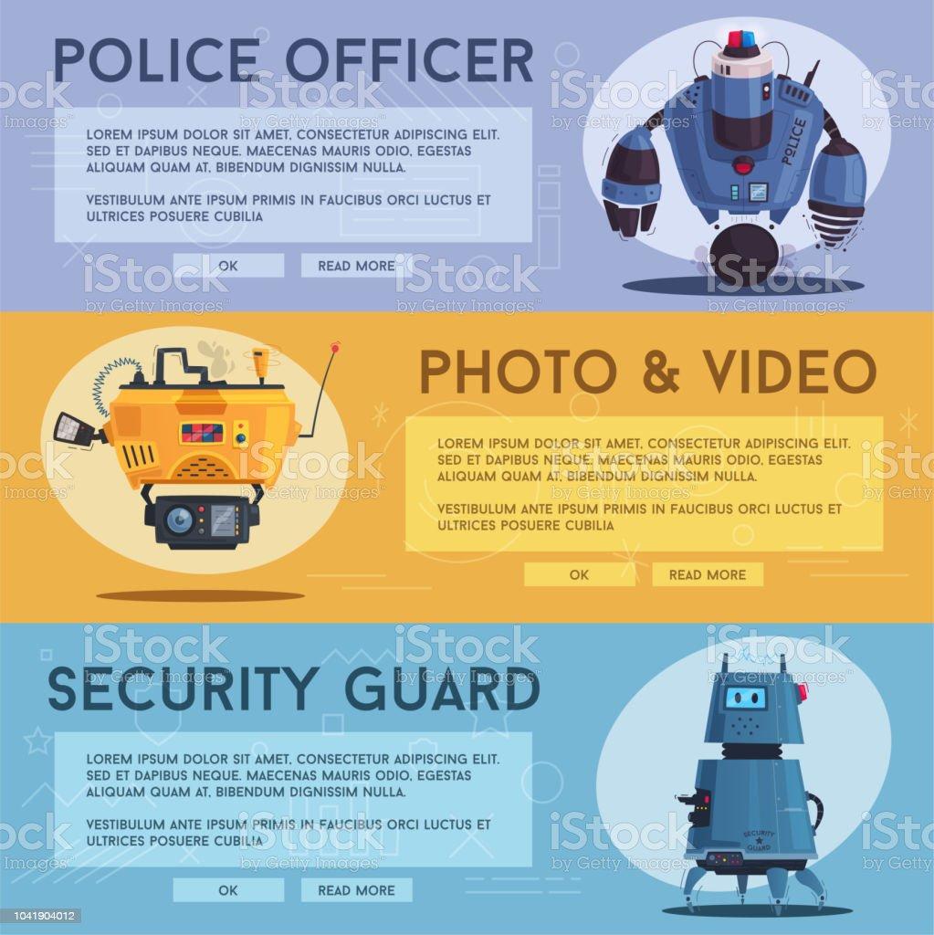 Polizei drone Roboter. Patrol Cop mit künstlicher Intelligenz – Vektorgrafik