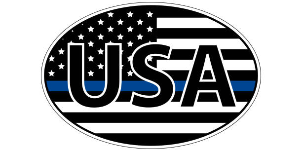 police enforcement flag sticker blue stripe symbolic police enforcement flag sticker blue stripe symbolic of American support for law enforcement, USA flag with a blue stripe center, sticker vector police meeting stock illustrations