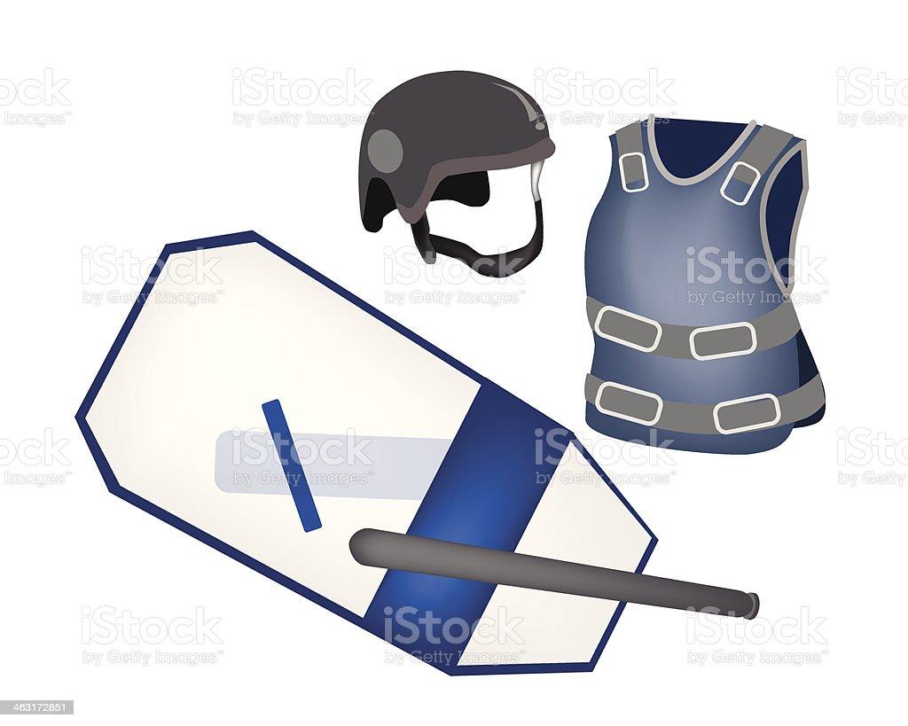 Polizei-Ausstattung und einheitliche auf weißem Hintergrund – Vektorgrafik
