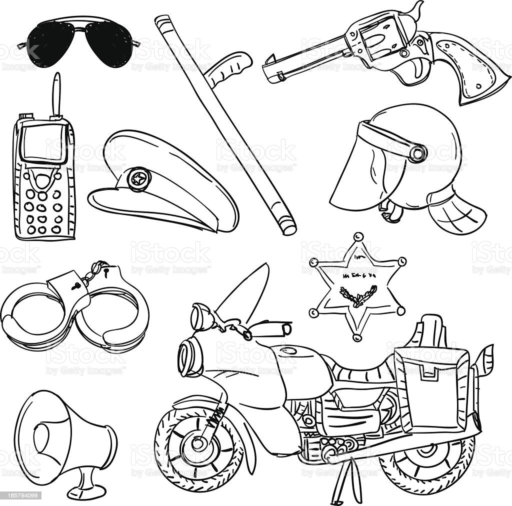 Police equipment in black and white royalty-free stock vector art